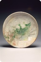 1989 Crackle Plate  raku fired 22 inches  56 cm