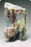 1992 Sculpture SC23  sagger fired  17 X 10 X 9 inch  43 X 25 X 22 cm