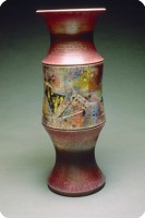 1992 Vase VR 1  raku fired  29 inch  73.5 cm height