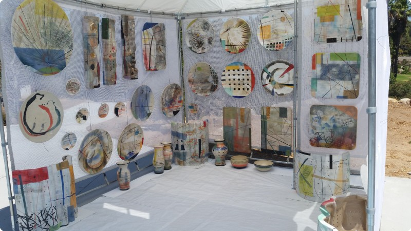 douglas kenney ceramics- booth at beverly hills art show